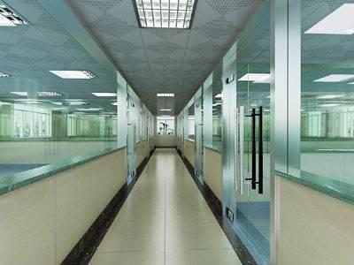 抛光地砖+半瓷砖半玻璃隔断+铝扣板吊顶
